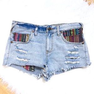 Free People Distressed Aztec Cutoff Jean Shorts 27